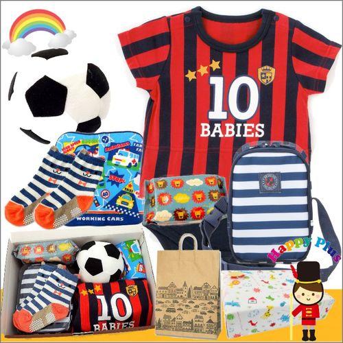 男の子出産祝い サッカーユニフォームベビー服わんぱくセット