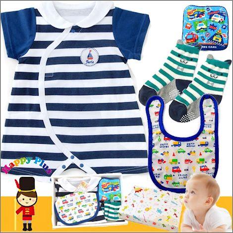 男の子出産祝い 半袖マリンベビー服セット