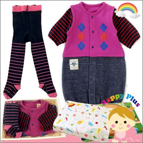女の子出産祝い 生後3ヶ月以内に贈るベビー服2点セット