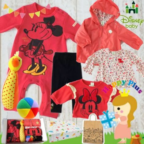 女の子出産祝い Disney baby ミニーマウスわくわくベビー服セット(A)