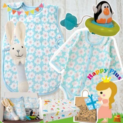 女の子出産祝い 生後3ヶ月から使えるふっくら中綿入りベビー寝具セット(ブルー)
