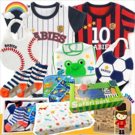 男の子出産祝い サッカーと野球のユニフォームベビー服セット