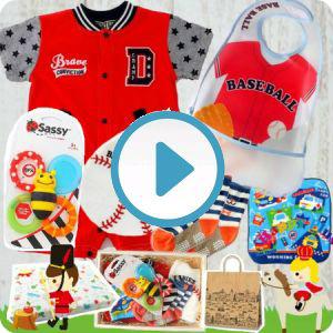 男の子出産祝い 野球ユニフォームデザインベビー服6点セット