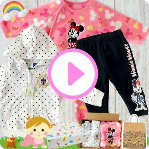 女の子出産祝い Disney baby ミニーマウスベビー服3点セット