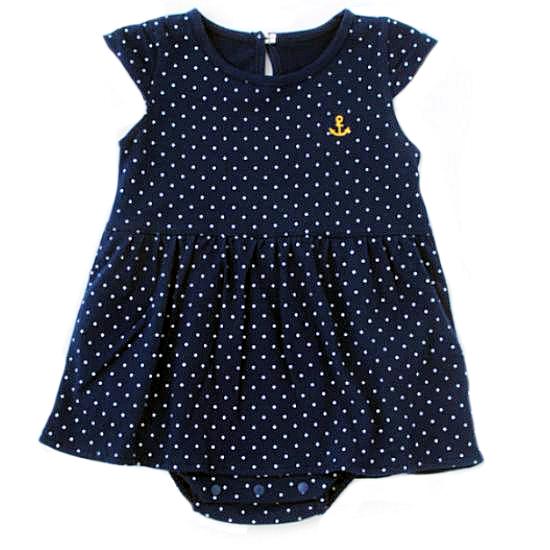 女の子マリンドットロンパースベビー服