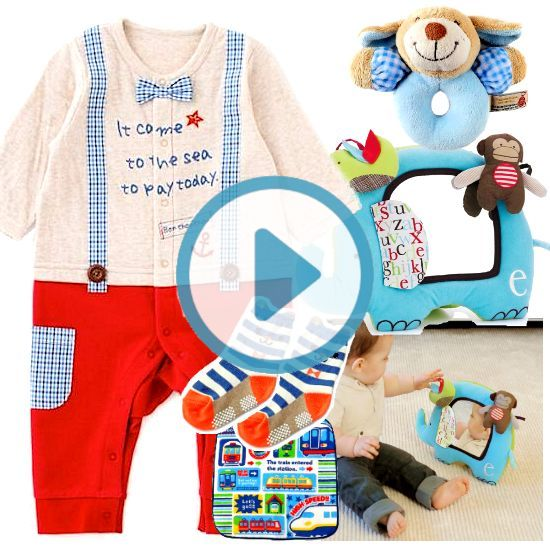 サスペンダー風ベビー服とおもちゃ出産祝いセット