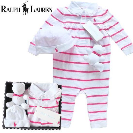 女の子出産祝い RALPH LAUREN ラルフローレン ボーダーカバーオールセット