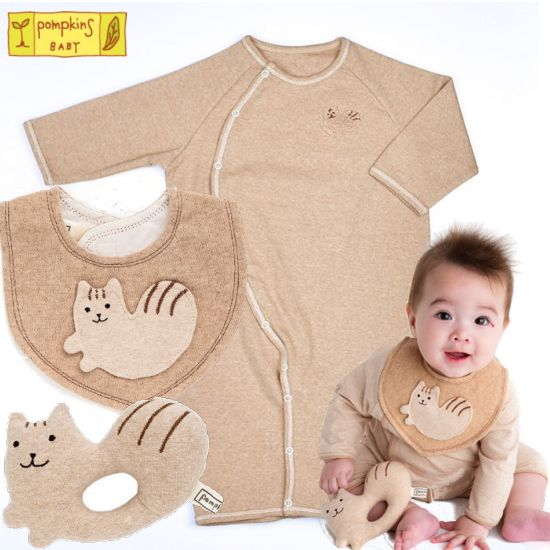 pompkins 出産祝い 日本製ベビー服シマリス(ブラウン)セット