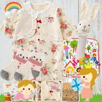 ベスト付き花柄2Wayベビー服(レッド) 女の子 出産祝いセット