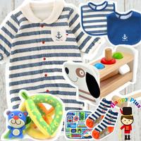 男の子出産祝い マリン2wayベビー服と木のおもちゃセット