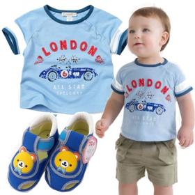 男の子出産祝い・2歳お祝い Dave&Bella Tシャツと音の鳴るベビーシューズセット