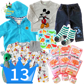 男の子出産祝い ミッキーベビー服とキューピー離乳食9食セット