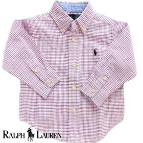 RALPH LAUREN ラルフローレンベビー服 長袖チェックシャツ(赤)