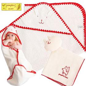 pompkins 女の子出産祝い 日本製おくるみセット