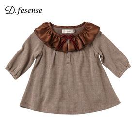 D.fesense ヘリンボーン柄ワンピボディ(ブラウン)