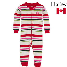 カナダ Hatley(ハットレイ) Holiday Stripe Girls Infant Sleepy Romper