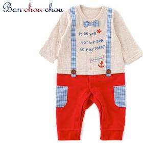 Bon chou chou  サスペンダー風長袖カバーオール(レッド) サイズ70(6~12ヶ月)
