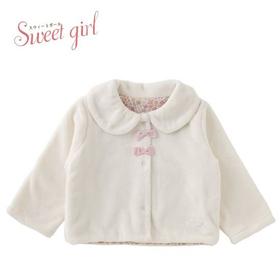 シンプルで長く着られる女の子ボアジャケット(ホワイト)