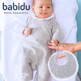 スペイン製Babidu(バビドゥ) よだれかけ付きベビー服(グレー)