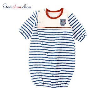 マリンボーダ(ブルー) 新生児2Wayベビー服(0歳~6ヶ月)