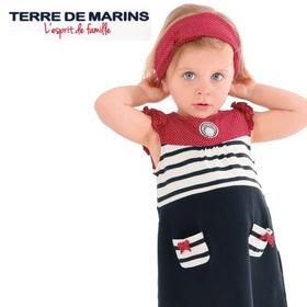 フランス製 ベビー服 Terre de marins BAYIANEワンピース ヘアーバンド付き