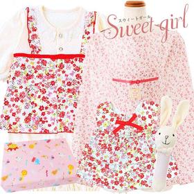 女の子出産祝い 花柄ベビー服と授乳ケープセット