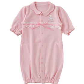 スワン新生児2Wayベビー服(ピンク)