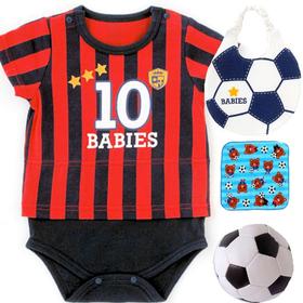 男の子出産祝い サッカーユニフォームベビー服わんぱく5点セット