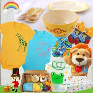 男の子出産祝い ロンパース2着と日本製食器5千円セット