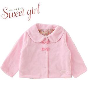 シンプルデザインで長く着られる女の子ボアジャケット(ピンク)