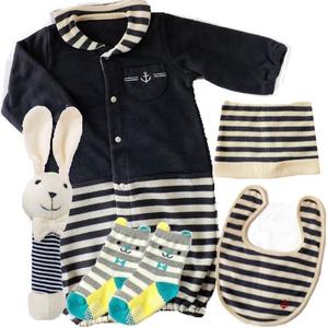 男の子出産祝い  おそろいマリンベビー服4点セット