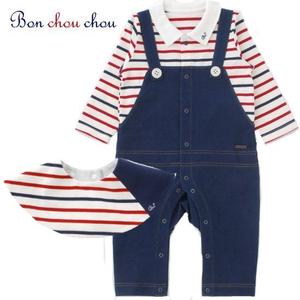 マリンボーダ(ブルー&グリーン) 新生児2Wayベビー服(0歳~6ヶ月)