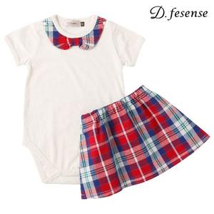 D.fesense(デーフェセンス)  チェックスカート&ボディセットベビー服(レッド)