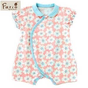 花柄 半袖プレオールベビー服(ピンク)