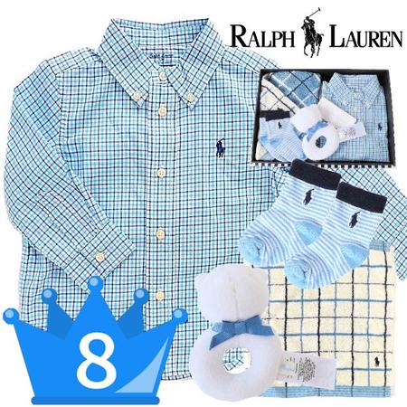 当店人気8位 RALPH LAUREN ラルフローレン長袖シャツ男の子出産祝いセット