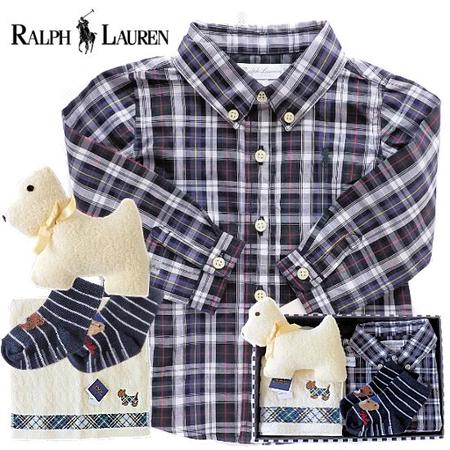 男の子出産祝い RALPH LAUREN ラルフローレン 長袖チェックシャツギフトセット