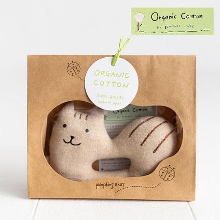 pompkins baby 出産祝い 日本製オーガニックコットン シマリスおもちゃ