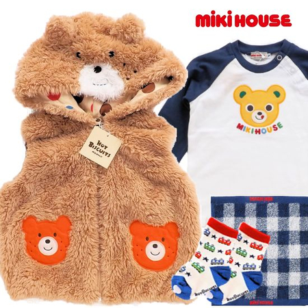 mikihouse ミキハウス 男の子出産祝い秋冬くまみみフード付きベストとベビー服セット