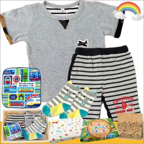 男の子出産祝い・1歳お祝い 春夏半袖ベビー服セット(B)